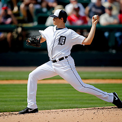 Feb 27, 2013; Lakeland, FL, USA; Detroit Tigers starting pitcher Kyle Lobstein (31) throws against the Atlanta Braves during the top of the third inning of a spring training game at Joker Marchant Stadium. Mandatory Credit: Derick E. Hingle-USA TODAY Sports