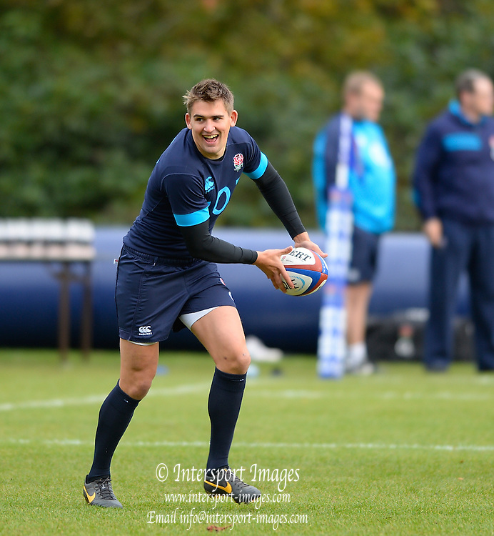 Bagshot, United Kingdom,Toby FLOOD,  during  England  Training for the  2013 QBE Autumn<br /> Rugby International, England vs Argentina, at the England training facility Pennyhill Park, Surrey<br /> Thursday  07/11/2013 RFU Stadium Twickenham,<br /> England. [Mandatory Credit: Peter Spurrier/Intersport<br /> Images]