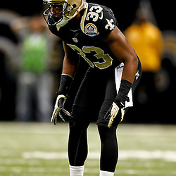 December 16, 2012; New Orleans, LA, USA; New Orleans Saints cornerback Jabari Greer (33) against the Tampa Bay Buccaneers during the fourth quarter of a game at the Mercedes-Benz Superdome. The Saints defeated the Buccaneers 41-0. Mandatory Credit: Derick E. Hingle-USA TODAY Sports