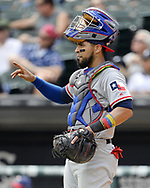 CHICAGO - JULY 01:  Robinson Chirinos #61 of the Texas Rangers looks on against the Chicago White Sox on July 1, 2017 at Guaranteed Rate Field in Chicago, Illinois.  The Rangers defeated the White Sox 10-4.  (Photo by Ron Vesely) Subject:   Robinson Chirinos
