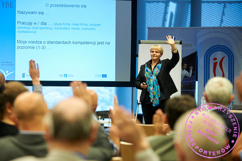 Beata Michalska - Instytut Badan Edukacyjnych <br /> speaks during conference Trainers Academy for trainers and coaches at National Stadium in Warsaw on September 30, 2014.<br /> <br /> Poland, Warsaw, September 30, 2014<br /> <br /> Picture also available in RAW (NEF) or TIFF format on special request.<br /> <br /> For editorial use only. Any commercial or promotional use requires permission.<br /> <br /> Mandatory credit:<br /> Photo by &copy; Adam Nurkiewicz / Mediasport