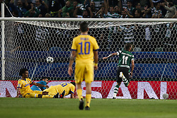 October 31, 2017 - Lisbon, Portugal - Sporting's forward Bruno Cesar  (R) scores his team's first goal  during Champions League 2017/18 match between Sporting CP vs Juventus FC, in Lisbon, on October 31, 2017. (Credit Image: © Carlos Palma/NurPhoto via ZUMA Press)