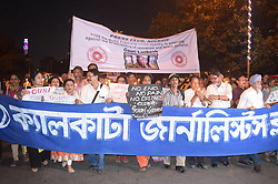 September 6, 2017 - Kolkata, West Bengal, India - People take part at candle light vigil was organised for the journalist Gauri Lankesh who was murdered in Bangalore on Tuesday night, on September 6, 2017 in Kolkata, India. (Credit Image: © Debajyoti Chakraborty/NurPhoto via ZUMA Press)