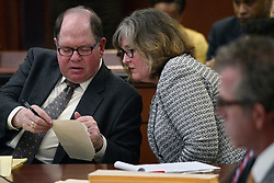 May 10, 2017 - Chaska, MN - Minnesota, USA - United States - Attorneys Alan Silver and Robin Williams consulted as they worked on behalf of L. Londell McMillan..]First Judicial District Judge Kevin W. Eide oversaw a hearing on whether to quash subpoena of L. Londell McMillan in the Prince estate dispute along with other issues of the estate. Richard Tsong-Taatarii•richard.tsong-taatarii@startribune.com (Credit Image: © Richard Tsong-Taatarii/Minneapolis Star Tribune via ZUMA Wire)
