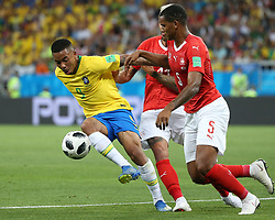 ROSTOV-ON-DON, June 17, 2018  Gabriel Jesus (L) of Brazil vies with Manuel Akanji (R) of Switzerland during a group E match between Brazil and Switzerland at the 2018 FIFA World Cup in Rostov-on-Don, Russia, June 17, 2018. (Credit Image: © Li Ga/Xinhua via ZUMA Wire)