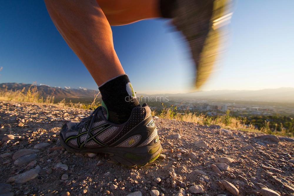 Trail runner in the foothills above Salt Lake City