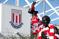 A general view of the Gordon Banks statue outside the bet365 Stadium, Stoke.