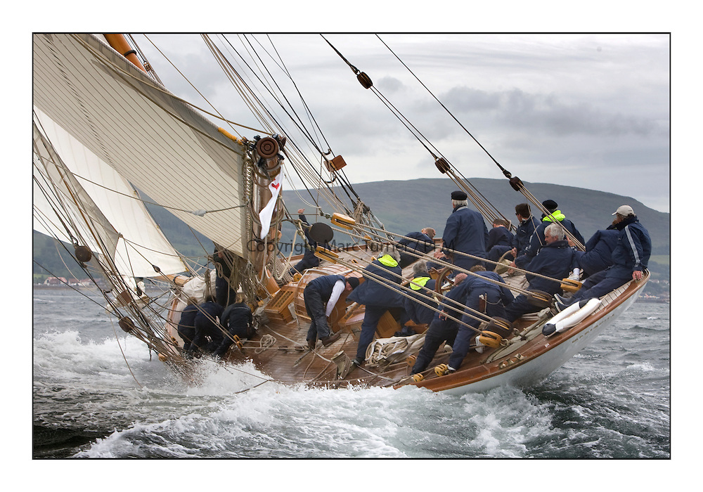 Mariquita 1911 a 19 metre..The final day's racing on the King's Course North of Cumbrae...* The Fife Yachts are one of the world's most prestigious group of Classic .yachts and this will be the third private regatta following the success of the 98, .and 03 events.  .A pilgrimage to their birthplace of these historic yachts, the 'Stradivarius' of .sail, from Scotland's pre-eminent yacht designer and builder, William Fife III, .on the Clyde 20th -27th June.   . ..More information is available on the website: www.fiferegatta.com . .Press office contact: 01475 689100         Lynda Melvin or Paul Jeffes