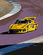 Image of a yellow Porsche 935 racing at Rennsport Reunion IV, Laguna Seca, California, America west coast