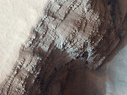 This image covers a pit in the lower West flank of Arsia Mons, one of the four giant volcanos of the Tharsis region.