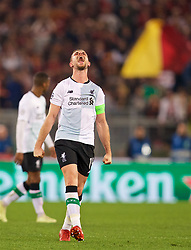 ROME, ITALY - Wednesday, May 2, 2018: Liverpool's captain Jordan Henderson celebrates after the 7-6 aggregate victory over AS Roma during the UEFA Champions League Semi-Final 2nd Leg match between AS Roma and Liverpool FC at the  Stadio Olimpico. (Pic by David Rawcliffe/Propaganda)
