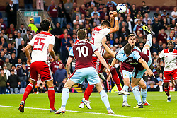 Sam Vokes of Burnley hooks the ball towards goal - Mandatory by-line: Robbie Stephenson/JMP - 30/08/2018 - FOOTBALL - Turf Moor - Burnley, England - Burnley v Olympiakos - UEFA Europa League Play-offs second leg