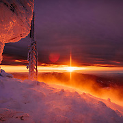 Sunset on top of Mount Washington's Observatory in winter