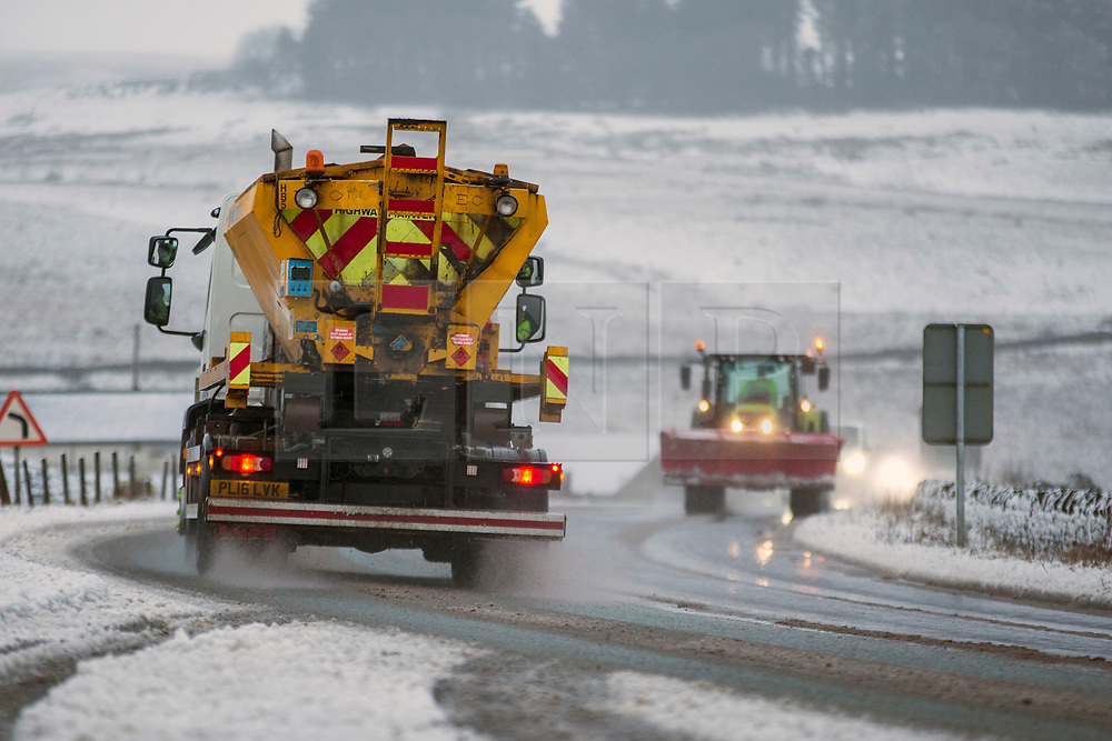 © Licensed to London News Pictures. 13/02/2020. Shap UK. Gritters & snow ploughs are out this morning on the road near Shap in Cumbria as the UK braces for more bad weather over the weekend. Photo credit: Andrew McCaren/LNP