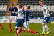 Connor Smith (C)(Heart of Midlothian) tackles Bogdan Logachev during the U17 European Championships match between Scotland and Russia at Simple Digital Arena, Paisley, Scotland on 23 March 2019.