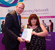 Sean Kyne TD Minister of State for Community Affairs, Natural Resources and Digital Development, presenting certification  in Employer Based Training  toTanisha Geoghegan  QQI level 4 in IT skills  workplace safety and Work Experience. Photo:Andrew Downes, xposure .
