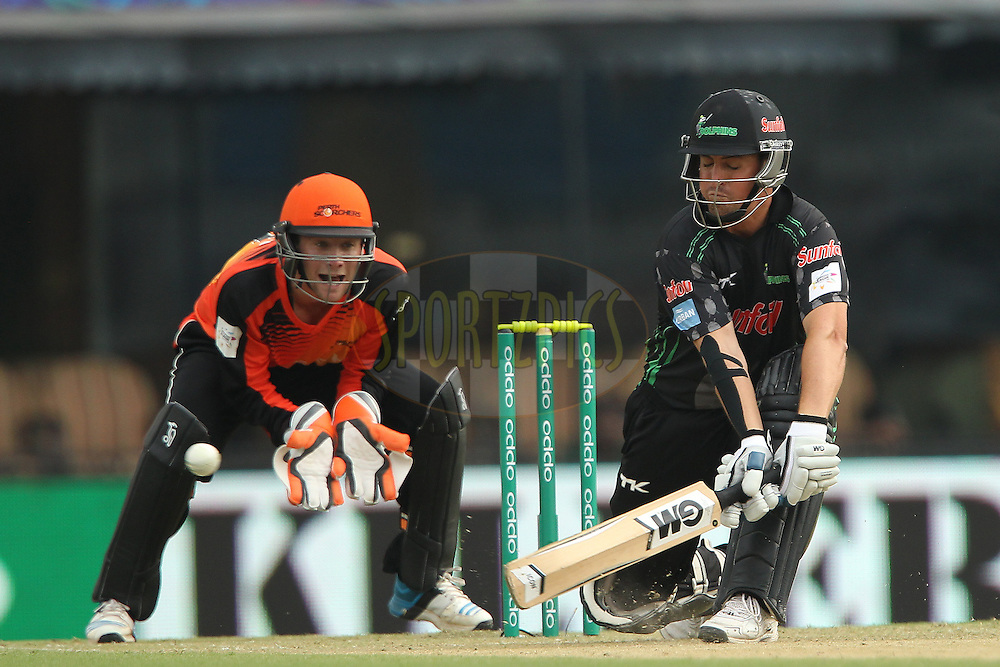 Daryn SMIT of the Dolphins  plays a reverse sweep during match 4 of the Oppo Champions League Twenty20 between the Dolphins and the Perth Scorchers held at the Punjab Cricket Association Stadium, Mohali, India on the 20th September 2014<br /> <br /> Photo by:  Ron Gaunt / Sportzpics/ CLT20<br /> <br /> <br /> Image use is subject to the terms and conditions as laid out by the BCCI/ CLT20.  The terms and conditions can be downloaded here:<br /> <br /> http://sportzpics.photoshelter.com/gallery/CLT20-Image-Terms-and-Conditions-2014/G0000IfNJn535VPU/C0000QhhKadWcjYs