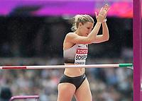Athletics - 2017 IAAF London World Athletics Championships - Day Two (AM Session)<br /> <br /> Event: High Jump Women - Heptathlon<br /> <br /> CarolinSchafer (GER)  clears the bar and applauds her effort  <br /> <br /> COLORSPORT/DANIEL BEARHAM