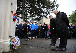 Bristol Rugby club chairman, Chris Booy and Bristol Rovers Chairman, Nick Higgs pays their respects - Photo mandatory by-line: Dougie Allward/JMP - Mobile: 07966 386802 - 11/11/2014 - SPORT - Bristol - Memorial Stadium - Remembrance Service