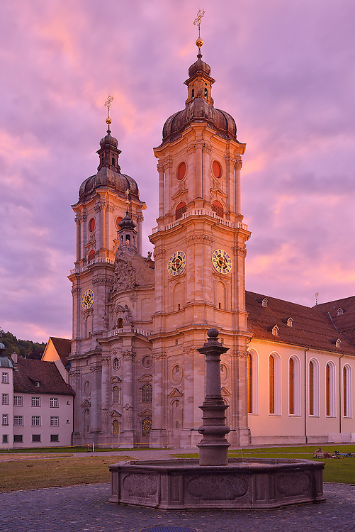 UNESCO World Heritage Site, Cathedral of St.Gallen seen after sunset, Old City,Switzerland, Europe