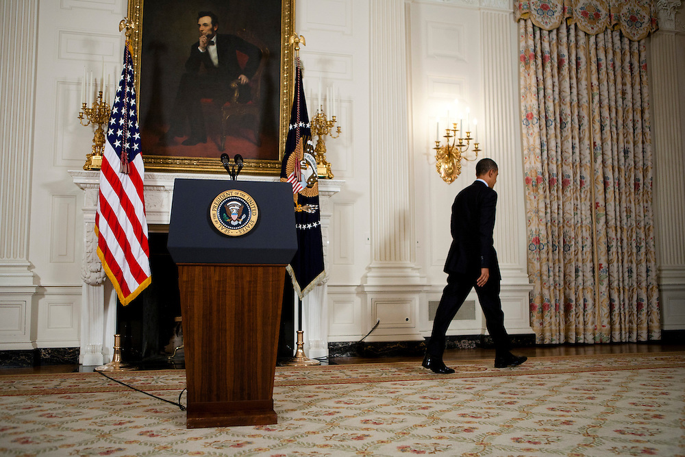 President Barack Obama leaves after delivering a statement on the situation in Egypt at the White House in Washington, D.C., U.S., on Friday, January 28, 2011.