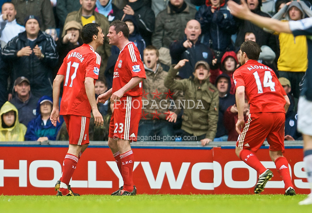 WEST BROMWICH, ENGLAND - Sunday, May 17, 2009: Liverpool's Jamie Carragher clashes with team-mate Alvaro Arbeloa during the Premiership match West Bromwich Albion at the Hawthorns. (Photo by David Rawcliffe/Propaganda)