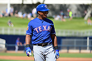 PHOENIX, AZ - MARCH 04:  Adrian Beltre #29 of the Texas Rangers smiles while on base in the spring training game against the Texas Rangers at Maryvale Baseball Park on March 4, 2017 in Phoenix, Arizona.  (Photo by Jennifer Stewart/Getty Images)