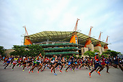 NELSPRUIT, SOUTH AFRICA - NOVEMBER 04: athletes att the start run past the Mbombela Stadium during the ASA 10km Championships on Saturday November 04, 2017 in Nelspruit, South Africa. <br /> (Photo by Roger Sedres/ImageSA/Gallo Images)