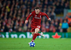 LIVERPOOL, ENGLAND - Wednesday, October 24, 2018: Liverpool's Andy Robertson during the UEFA Champions League Group C match between Liverpool FC and FK Crvena zvezda (Red Star Belgrade) at Anfield. (Pic by David Rawcliffe/Propaganda)