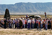First atomic bomb test site: Site Trinity ground zero, the still radioactive piece of desert in the White Sands Missile Range, which was witness to the world's first nuclear explosion on August 6, 1945. Each year the site is open to the public for one day. Visitors to ground zero listen to a Manhattan Project scientist reminisce while standing next to an original Fat Man bomb casing, on loan from the nearby Atomic Museum in Albuquerque, New Mexico. .Test site of the first atomic bomb, part of the Manhattan Project. Trinity was detonated at 5:29am on 16th July 1945 at the Los Alamos site in New Mexico, USA.  (1984)