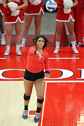 28 September 2014:  Frankie Taylor during an NCAA womens volleyball match between the Evansville Purple Aces and the Illinois State Redbirds at Redbird Arena in Normal IL