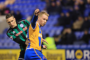 Jim McNulty, Jack Grimmer during the Sky Bet League 1 match between Shrewsbury Town and Rochdale at Greenhous Meadow, Shrewsbury, England on 1 March 2016. Photo by Daniel Youngs.