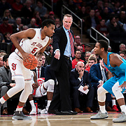 January 9, 2018, New York, NY : St. John's head coach Chris Mullin, center, signals during Tuesday night's matchup between the Hoyas and Red Storm at the Garden. In something of a rematch of their 1985 contest, Basketball greats Patrick Ewing and Chris Mullin returned to Madison Square Garden on Tuesday night to face off as coaches with their respective Georgetown and St. John's teams.  CREDIT: Karsten Moran for The New York Times