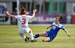 Frankie Brown of Bristol Academy Women tackles Martha Harris of Liverpool Ladies - Mandatory by-line: Paul Knight/JMP - Mobile: 07966 386802 - 13/09/2015 -  FOOTBALL - Stoke Gifford Stadium - Bristol, England -  Bristol Academy Women v Liverpool Ladies FC - FA WSL Continental Tyres Cup
