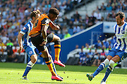 Hull City striker Chuba Akpom shoots at goal during the Sky Bet Championship match between Brighton and Hove Albion and Hull City at the American Express Community Stadium, Brighton and Hove, England on 12 September 2015. Photo by Phil Duncan.
