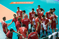 Players of Turkey during volleyball match between national teams of Slovenia and Turkey of 2018 CEV volleyball Godlen European League, on May 27, 2018 in Sports hall Tabor, Maribor, Slovenia. Photo by Urban Urbanc / Sportida