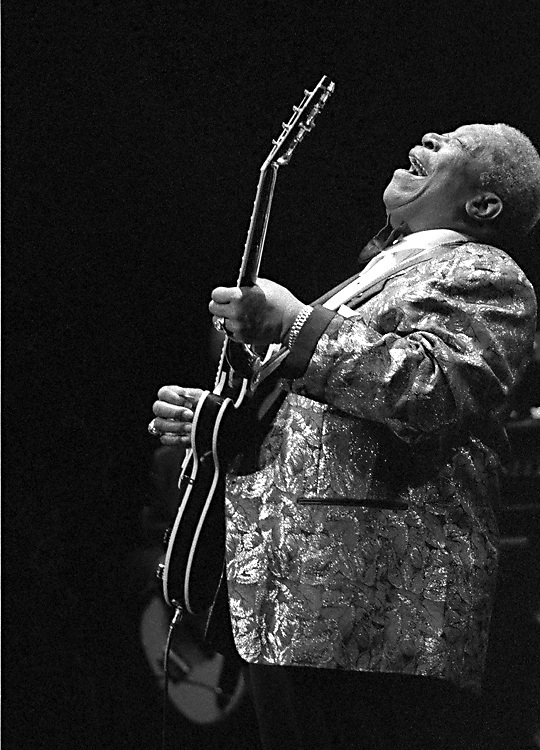 B.B. King is caught up in a moment of pure joy and ecstasy as he belts out the blues at the Paramount Theatre in Seattle, WA.