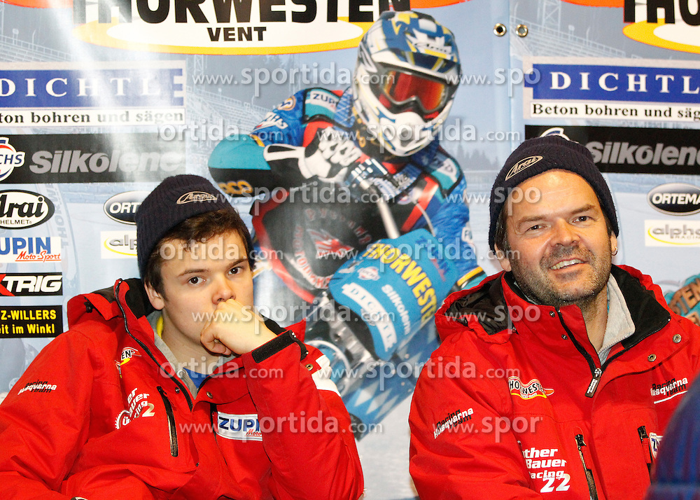 13.03.2016, Assen, BEL, FIM Eisspeedway Gladiators, Assen, im Bild Luca Bauer (GER), Guenther Bauer (GER) // during the Astana Expo FIM Ice Speedway Gladiators World Championship in Assen, Belgium on 2016/03/13. EXPA Pictures &copy; 2016, PhotoCredit: EXPA/ Eibner-Pressefoto/ Stiefel<br /> <br /> *****ATTENTION - OUT of GER*****