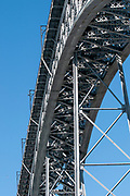 Abstract view of the steel supports of the Dom Luis I bridge in Porto, Portugal as seen from below