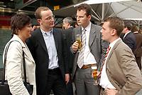 23 JUN 2003, BERLIN/GERMANY:<br /> Hildegard Mueller, MdB, CDU, ehem. Vorsitzende Junge Union, Jens Spahn, MdB, CDU, juengster maennl. Abgeordenter des Bundestages, Guenter Krings, MdB, CDU, Vorsitzender Junge Gruppe CDU/CSU Fraktion, und Daniel Bahr, MdB, FDP, Bundesvors. Junge Liberale, (v.L.n.R.), im Gespraech, Fest des Spiegel Hauptstadtbueros mit jungen Abgeordneten aus Bundestag, Berliner Abgeordnetenhaus und Brandenburger Landtag<br /> IMAGE: 20030623-01-012<br /> KEYWORDS: Youngster, Hildegard Müller, Günter Krings, Gespräch