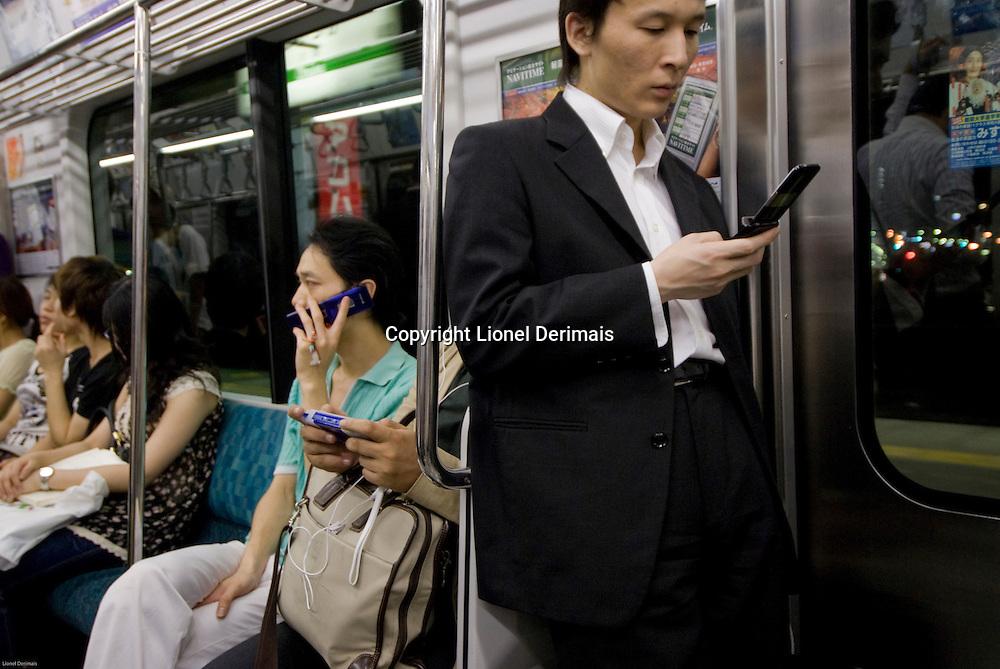 Scene in the Tokyo subway.