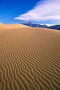 Morning light on dune patterns under the Sangre de Cristo Mountains, Great Sand Dunes National Park, Colorado  .