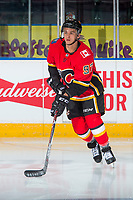 PENTICTON, CANADA - SEPTEMBER 10: Ben Hawerchuk #97 of Calgary Flames warms up against the Vancouver Canucks on September 10, 2017 at the South Okanagan Event Centre in Penticton, British Columbia, Canada.  (Photo by Marissa Baecker/Shoot the Breeze)  *** Local Caption ***