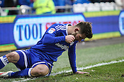 Matthew Kennedy of Cardiff City punches the ground in frustration during the EFL Sky Bet Championship match between Cardiff City and Burton Albion at the Cardiff City Stadium, Cardiff, Wales on 21 January 2017. Photo by Andrew Lewis.