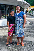 Two girls on Tutuila island, American Samoa, South Pacific