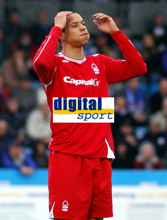 Photo: Alan Crowhurst.<br />Brighton & Hove Albion v Nottingham Forest. Coca Cola League 1. 17/02/2007. Forest's Nathan Tyson misses another chance.