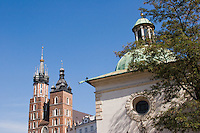 Church of St Adalbert and St Mary's Basilica Kosciol Mariacki in Rynek Glowny Krakow Poland