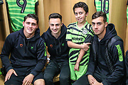 Matchday mascot with the Fgr players during the EFL Sky Bet League 2 match between Forest Green Rovers and Mansfield Town at the New Lawn, Forest Green, United Kingdom on 19 October 2019.