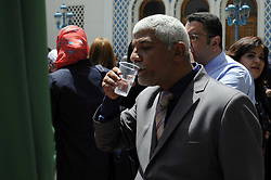 May 4, 2017 - Cairo, Egypt - Arab League representatives and officials drink water, as a symbolic gesture of solidarity with hundreds of hunger-striking Palestinian prisoners held by Israel, at the Arab League headquarters, in Cairo, Egypt, Thursday, May 4, 2017. (Credit Image: © Mohamed Mostafa/NurPhoto via ZUMA Press)