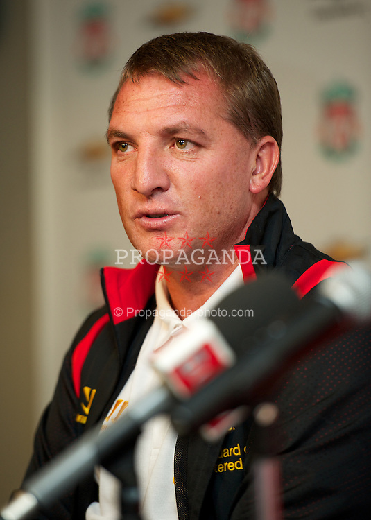 BOSTON, MA - Tuesday, July 24, 2012: Liverpool's manager Brendan Rodgers during a press conference at Fenway Park, home of the Boston Red Sox, to announce a four-year sponsorship deal with car marker Chevrolet, ahead of their second preseason match of the North American tour, against AS Roma. (Pic by David Rawcliffe/Propaganda)